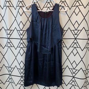 Blue satin mini dress with beaded top